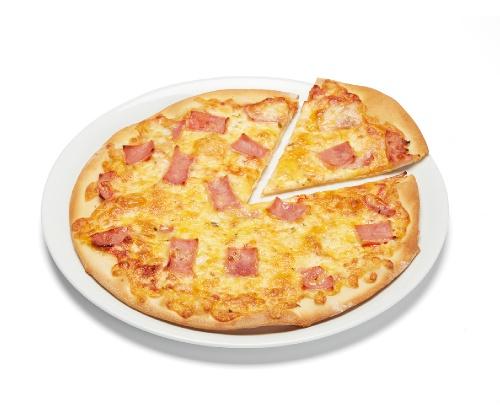 Pizza Fina Jamón cocido y cheddar